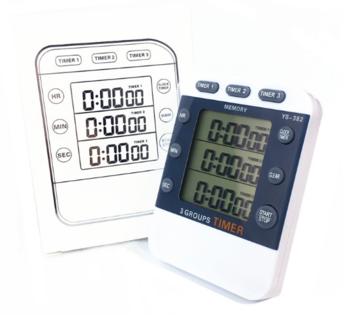 弈圣YS-382三通道计时器定时器实验倒计时秒表时钟厨房计时器